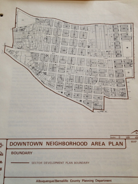 This graphic displays streets and structures found in the residential portions of downtown ABQ.