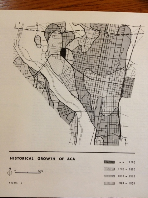This flow map visually displays historic population growth patterns in central ABQ.