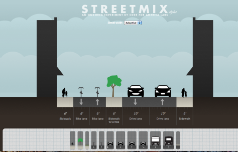 This is an example of a streetscape created with Streetmix
