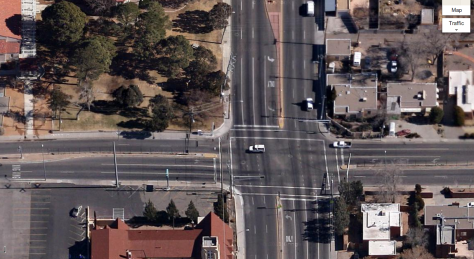 Aerial view of the Lomas/Girard intersection, looking east (Google Maps)