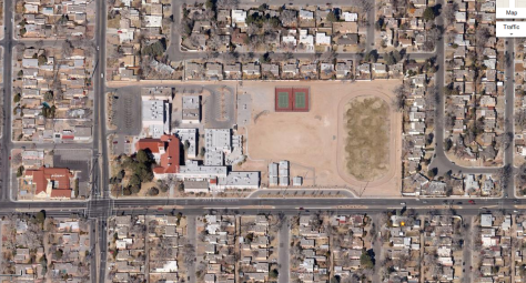 Aerial view of Jefferson Middle School (Google Maps)