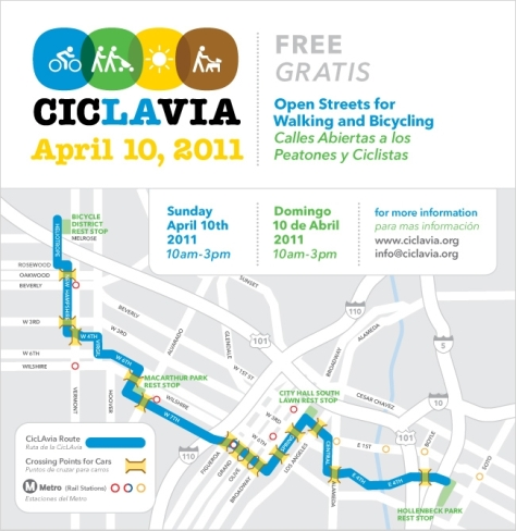 Map of the first CicLAvia event
