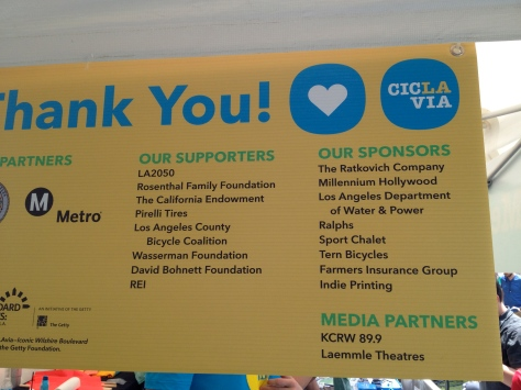 Banner displaying a portion of the major contributors to the most recent CicLAvia event