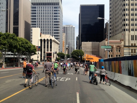 Streets filled with people, Downtown Los Angeles