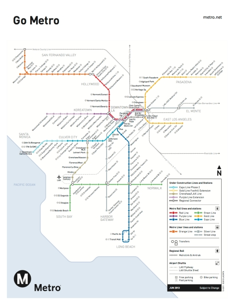 A map of completed and under construction Metro rail lines
