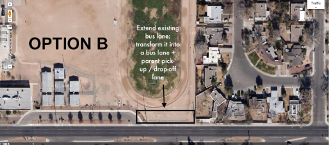 Click to enlarge!  This image shows the space available to enlarge the existing bus drop off area