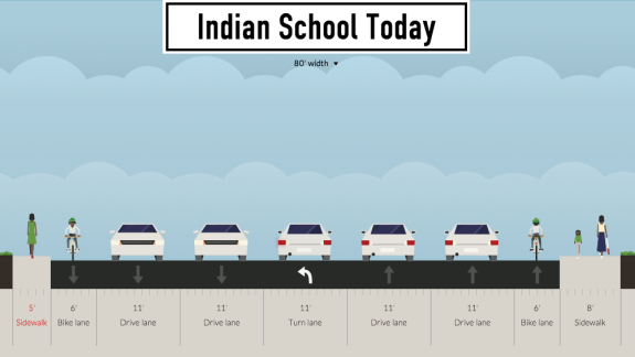 This is how most of Indian School looks today though some segments have even narrower sidewalks.