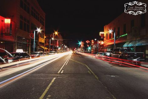 """Goodnight Albuquerque"" - by Lisa Sprague.  Central Avenue between 3rd and 4th Street."