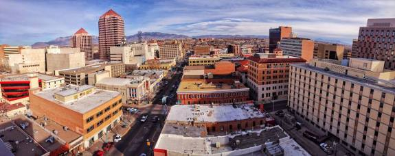 """""""Above Downtown ABQ"""" - by Chad Gruber.  Taken from the newly completed Anasazi Building."""