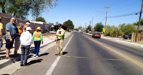 "Dan Burden leading one of his famous ""walking audits"" on Constitution Road, ABQ, NM."