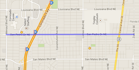 The blue line on this map highlights the segment of San Pedro which requires change.