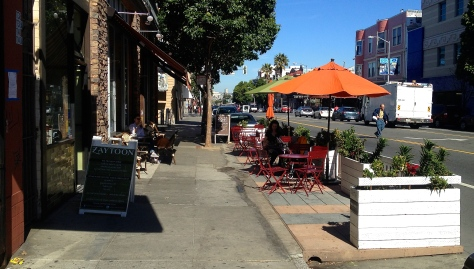 Parklet on Valencia St. in San Fransisco.  If all goes as planned, these will soon be appearing all over Albuquerque!