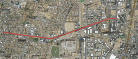 The red line symbolizes the area that is proposed for widening.  Here is a link to the Google MyMap: http://bit.ly/ZpJyO0.