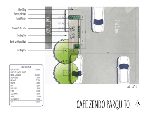 Birds eye view of the proposed parquito in front of Zendo Coffee