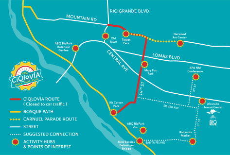 Our route map includes other exciting partners such as the Carnuel Parade and Fiesta as well as the Railyards Market.