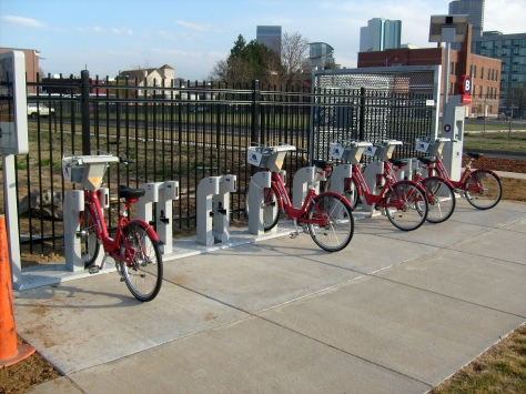 A bike share station in Denver.