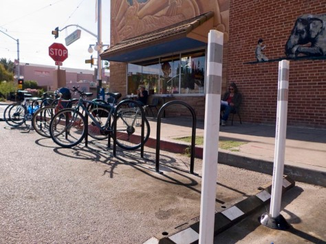 A bike corral in front a coffee shop in Tucson, Arizona.