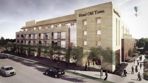 A rendering of the new hotel being constructed in Old Town.