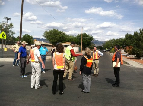"Community building through active participation: a ""human traffic circle"", created during a walking audit with Dan Burden"
