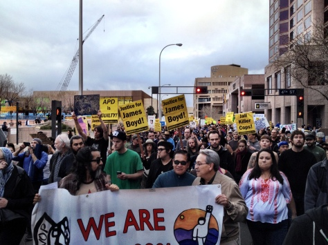 This scene from Downtown Albuquerque earlier this year was replicated across the country.  This year, across the country, thousands took to the streets, our public space, to peacefully voice opinions and express ideas.