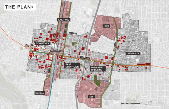 An image from the Innovate ABQ plan, linked below.  Dark red = underutilized opportunity areas, primarily surface parking lots.