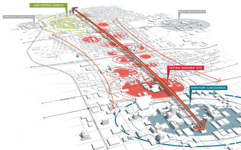 A conceptual image of the Downtown focused Innovation District.   - D/P/S, Perkins + Will.