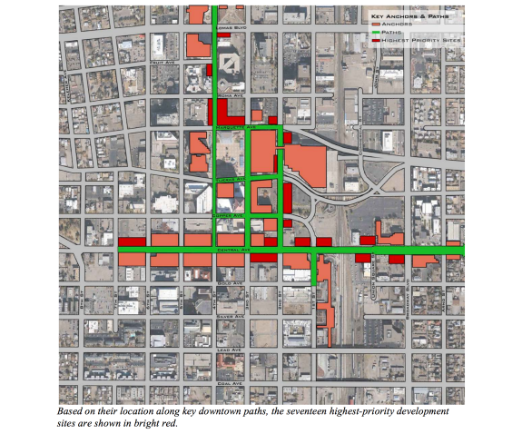 "According to Mr. Speck, this image features the most walkable corridors Downtown and the ""missing teeth"" along those corridors.  According to the report, these should be the highest priority development sites."