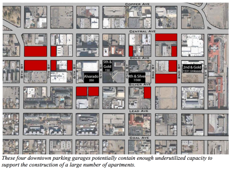 This image, from the Jeff Speck plan, illustrates the potential development opportunities around underutilized parking garages.