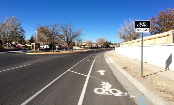 A buffered bike lane on Taylor Ranch Rd on the Westside of Albuquerque.