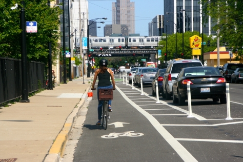 A parking protected bike lane with bollards in Chicago.