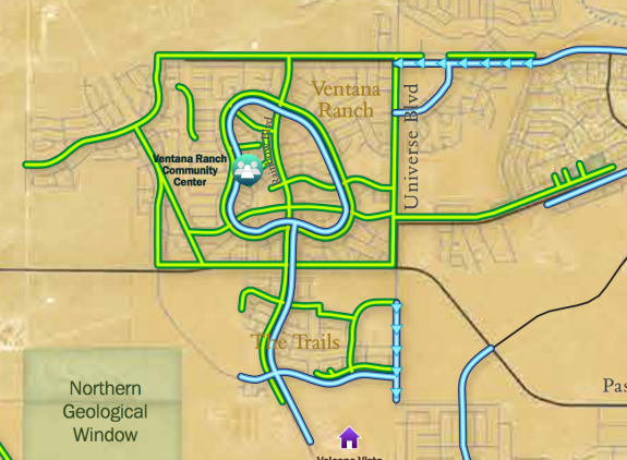 According to the city bike map, Ventana Ranch on the Westside has many multi-use trails which do not connect to anything.