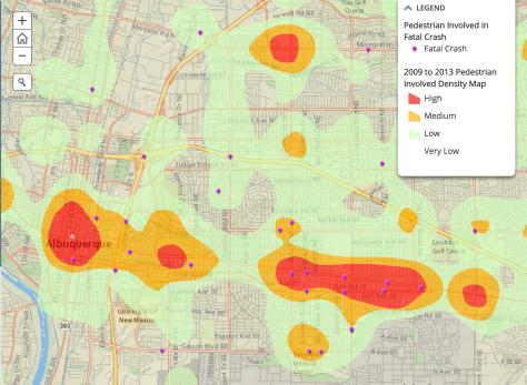 pedestrian fatality map abq